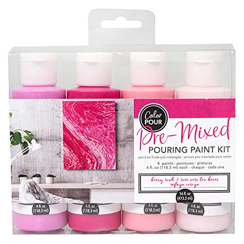 American Crafts Color Pour Pre-Mixed Paint Kit 4/Pkg-Berry Rush - Ink Mixing Kit