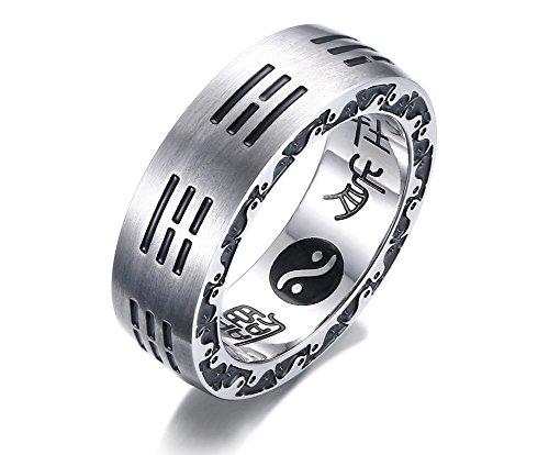 Vnox 7mm Männer Edelstahl 9 Wörter von Mantra Yin Yang chinesischen Taoismus Band Ring Silber
