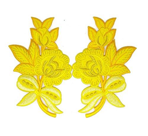 Pair Gelb Gold Rose Trim Floral Flower Patch Sew Iron on gesticktes Badge Symbol Custom Floral Gold Trim