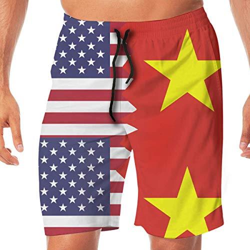 Generic Men Swimming Shorts American Vietnam Flag Summer Vacation Beach Boardshort with Pocket,XL -