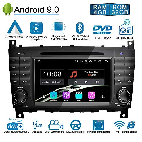 Ohok 7 Zoll Bildschirm 2 Din Autoradio Android 9.0 Pie Octa Core 4G+32G Radio mit Navi Moniceiver DVD GPS Navigation Unterstützt Bluetooth WLAN DAB+ für Mercedes-Benz C-Class/CLK
