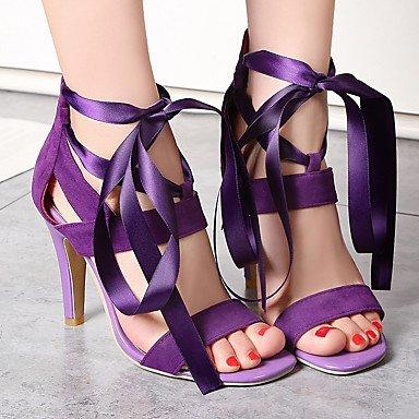 Sandali Primavera Estate Autunno Comfort PU Party & abito da sera Casual Stiletto Heel Lace-up Nero Blu Rosso porpora Purple