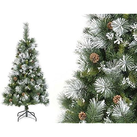 Árbol de Navidad artificial VERDE Nevado con copos de nieve BLANCOS y piñones de pino - Altura 1m50 - 363