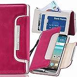 numia LG L70 Hülle, Handyhülle Handy Schutzhülle [Book-Style Handytasche mit Standfunktion und Kartenfach] Pu Leder Tasche für LG L70 Case Cover [Pink-Weiss]
