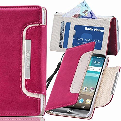 numia LG G2 Mini Hülle, Handyhülle Handy Schutzhülle [Book-Style Handytasche mit Standfunktion und Kartenfach] Pu Leder Tasche für LG G2 Mini Case Cover [Pink-Weiss]