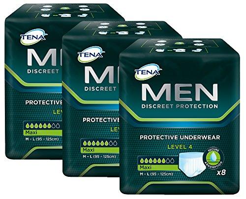 TENA MEN Level 4 - Einweg Schutzunterwäsche für Männer mit mittlerer bis starker Blasenschwäche/Inkontinenz - saugstark & diskret - 24 Hygiene-Einlagen (3 x 8 Stück) - Vorteilspack