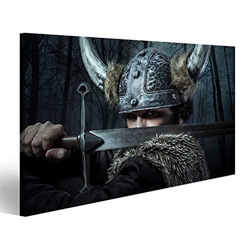 islandburner Bild Bilder auf Leinwand Verteidigung, Wikinger-Krieger, im barbarischen Stil gekleideter Mann mit Schwert, bärtig Wandbild, Poster, Leinwandbild OSM-1K-DE