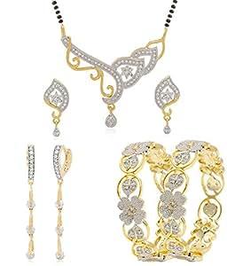 Jewels Galaxy Gold Plated Jewellery Set for Women (White)(JG-CB-MIXX-245)