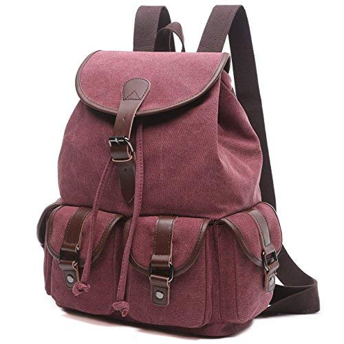 BAOSHA LP-13 Mädchen Damen Leinwand Rucksäcke Schulrucksack Laptop Schultasche Outdoor Sports Freizeit Casual Daypacks (Rot)
