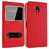 Samsung Galaxy J5 2017 Hülle mit Window für Samsung Galaxy J5 2017, Gemtoo® Tasche Schutzhülle Case für Samsung J5 2017, mehrere verschiedene Farben (Rot)