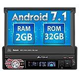 Pumpkin Android 7.1 Autoradio 1 Din Moniceiver mit Navi und ausfahrbarem Touchscreen Unterstützt Bluetooth DAB+ WLAN USB MicroSD Aux 7 Zoll Universal