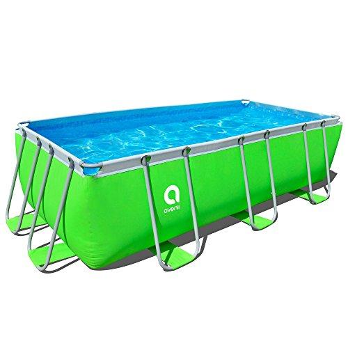 Piscina rectangular, con cartucho, Bomba de filtro y escalera, 400 x 200 x 99 cm, Passaat verde