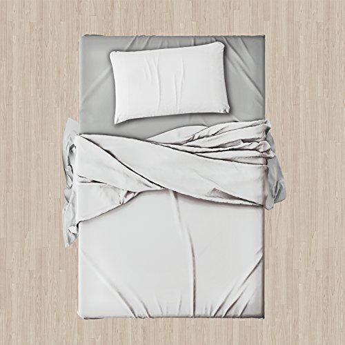 Set completo di lenzuola e federe da letto singolo tinta unita ,col.bianco in microfibra
