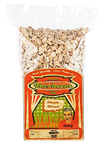 Axtschlag Räucherchips | Räucherholz zum Grillen & Smoken & Räuchern | 100 % Natur Pur | Für perfektes Grillen | für Holzkohle-, Gas- und Elektro-Grill | XXL Packung 1000 g | Ahorn