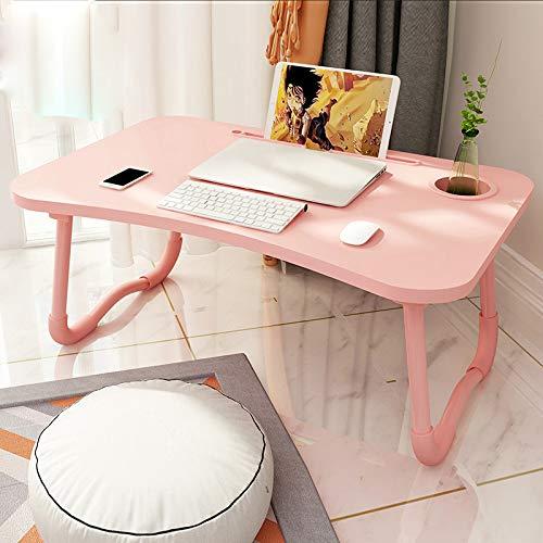 Lap Desk Stand (CICIN Lap Table Laptop Schreibtisch Lap Tray für Kinder Erwachsene, Schlafsofa Frühstückstablett Notebook Stand Lap Desks mit Kartensteckplatz und Getränkehalter,Pink)
