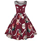 OverDose Damen Cat Printing Ärmelloses Kleid Damen Vintage Swing Lace Dress Ostern Partei-Kleid Büro Kleid Frühling Kleid