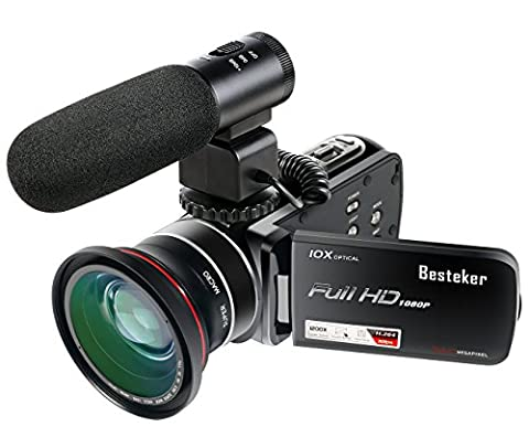 Camera Camcorders,Besteker Full HD 24MP 1080P 30FPS 3.0Inch Touch Screen 120X Digital Zoom Video Camcorder with External Microphone Wide Angle