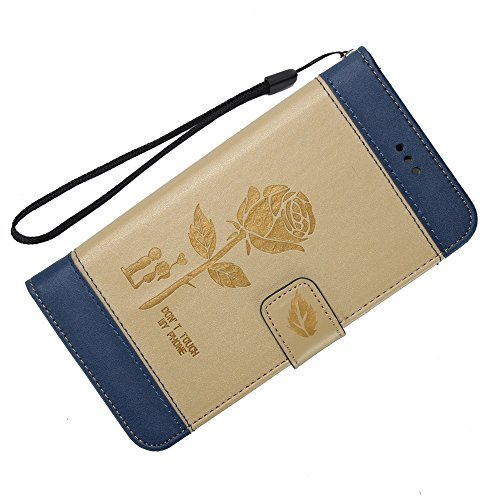 EKINHUI Case Cover Gemischte Farben Rose Blume matt Premium PU Leder Brieftasche Stand Case Cover mit Lanyard & Card Slots für LG K8 2017 ( Color : Red ) Gold