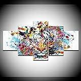 WJFWLH 5 Pezzi Tela Pittura Colorata Tigre Animale Wall Art Pittura Modellata Carta da Parati Poster Stampa Soggiorno Decorazione Domestica
