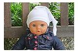 Dukal, Zipfelmütze für Babys oder Erstlingsmütze in 40, Wunsch mit Namen Bestickt, Weiss