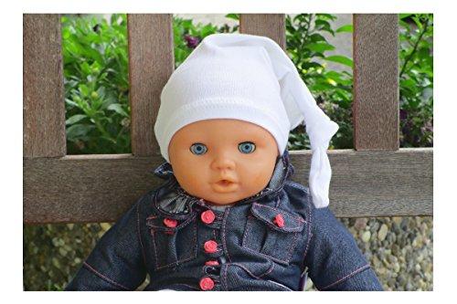 DUKAL, Zipfelmütze für Babys oder Erstlingsmütze in 40 verschiedenen Farben, nach Wunsch mit Namen bestickt, weiss