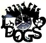 Wanduhr Vinyl Schallplatte LP 33U Instant Karma Geschenk Vintage Handmade–Tiere Haus I Love Dogs Hund Hunde