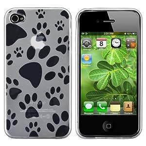 Housse Etui Coque Façade TPU case patte de chien Clair Pour Apple Iphone 4 4G 4S