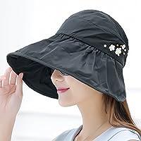 PLKOI La Sra. Verano sombreros sombrero para el sol Sombrero para el Sol Playa Sombreros Sombreros de sol plegable de la Sra. tapa de refrigerante,Blacka