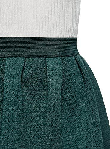 oodji Ultra Damen Rock aus Strukturiertem Stoff mit Elastischem Bund Grün (6C00N)