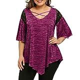VJGOAL Damen Bluse, Dame Plus Size Fashion Unregelmäßige Top Drei Viertel Sleeve Shirt Hohe Niedrige Hem Tops Bluse (52, T-Spitze-heiß rosa)