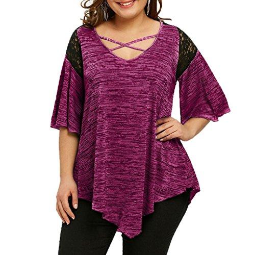 VJGOAL Damen Bluse, Dame Plus Size Fashion Unregelmäßige Top DREI Viertel Sleeve Shirt Hohe Niedrige Hem Tops Bluse (48, T-Spitze-heiß rosa)