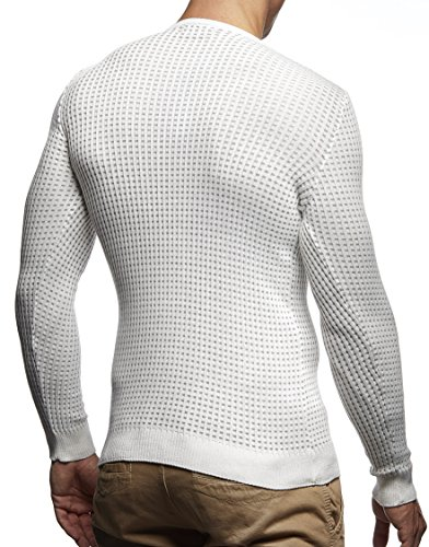 LEIF NELSON Herren Pullover Strickpullover Hoodie Basic Rundhals Crew Neck Sweatshirt longsleeve langarm Sweater Feinstrick LN1605 Ecru-Grau