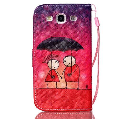 Meet de Samsung Galaxy S3 i9300 i9305 Bookstyle Étui Housse étui coque Case Cover smart flip cuir Case à rabat pour Galaxy S3 i9300 i9305 Coque de protection Portefeuille - this iphone is locked slide coucher de soleil rouge