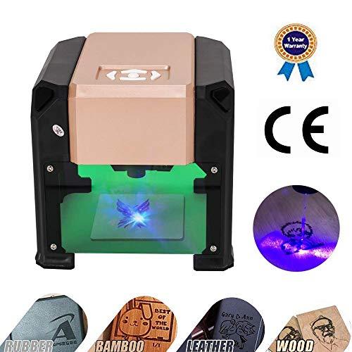 Laser Graviermaschine Lasergravierer Drucker, Mit CE-Zertifizierung- 3000 mw Mini Desktop Laserengraver Maschine DIY Logo 7.5x7.5CM -