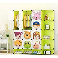 NEW Kids 12 Cubes Wardrobe Childrens Storage Cabinet Boxes Character Design Shoes Storage Corner Storage Cubes Pink Green Blue (Green)
