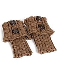 Pixnor Tejer Calcetines Calentadores de la pierna cubierta de arranque Calcetines calientes Caqui