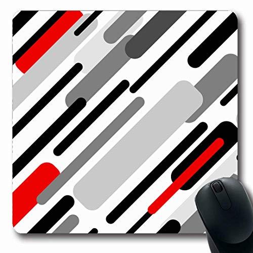 Luancrop Mousepads Dynamisch Grau Diagonale Streifen Abstrakt Rot Schwarz Leer Chaotisch Kontrast Design Futuristisch rutschfest Gaming Mouse Pad Gummi Längliche Matte -