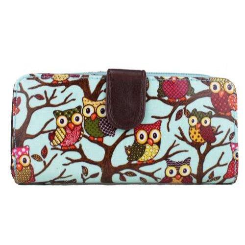 Zip-beutel Brieftasche (Miss Lulu Wachstuch Pferd/Vögel/Blumen/Schmetterling/Eule/Spot Polka Punkte/Skull Rose Gefaltet Damen Portemonnaie Zip Beutel, Owl-Blue - Größe: M)