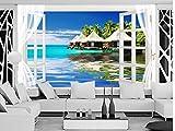 Yosot 3D Tapete Malediven Ozean Meer Raum Fenster Hintergrund Wandbild Wohnzimmer Benutzerdefinierte 3D Foto Tapete-140cmx100cm