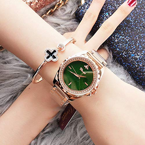 WZFCSAE Watch Ladies Star Face Cintura in Acciaio Set Bebè Diamond Tide Orologio da Donna al Quarzo Rosa in Oro Verde