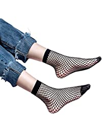 VJGOAL Moda casual para mujer Sexy personalidad Avantgarde Lace Fishnet Net Llanura Top-Tobillo Calcetines
