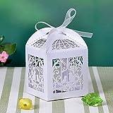 Musuntas 50Tlg.Schmetterling jaula boda del diseño bautizo favor de fiesta caja de cartón de regalo Tischdeko Bonboniere Box decoración de la boda (blanco de marfil)