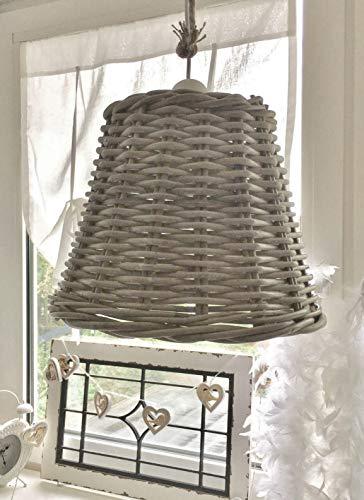 xxl Lampe Rattan Weide Korblampe Deckenlampe Hängelampe shabby Landhaus Leuchte -