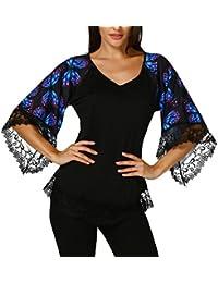 Reaso Femme T-shirt Court Manches Retro Blouse Papillon Bohême T-shirt Chic  Dentelle Haut Chemisier Col V Hemd… d4d4dfbb3a4