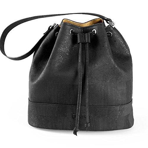 Bucket Bag for Women Non-Leather Vegan Handbag Crossbody Shoulder Woman Cork Black