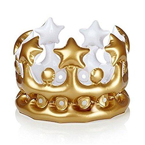 SODIAL 3Pcs Aufblasbare Goldkrone K?nig K?nigin Der Tag Kostüm Party Halloween Geburtstag Dekor