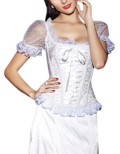 Burvogue kurzärmliges Top für Frauen im Gothic-Stil, Jacquard-Korsett, Steampunk Weiß