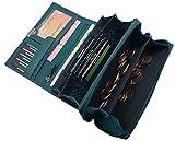 Große Rindleder Damen Geldbörse mit extra vielen Fächern in 5 Farben (Petrol)