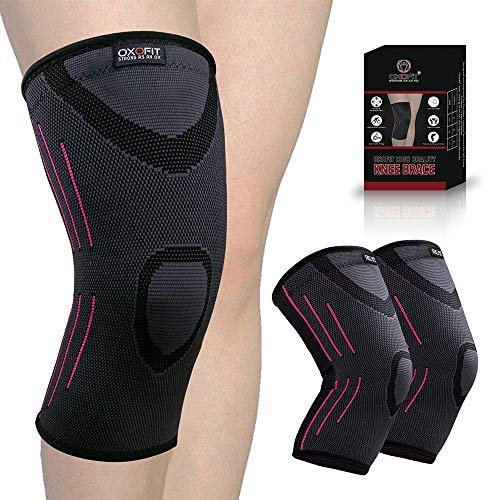 OxOFit Knee Braces for Men & Women| Pain Relief Compression Sleeve| Knee Cap Support for Running, Weightlifting, Sports, Squats, Gym Workout,Crossfit(Large, Single) (Large, Double)