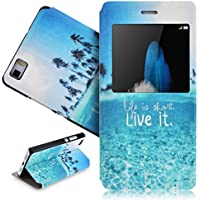 SMARTLEGEND Cover per Huawei P8 LITE Smart Window View Touch Custodia in Pelle Flip Protettiva Cover Case Blu Mare e Albero Pattern - La vita è breve